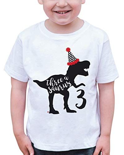 7 ate 9 Apparel Dino Three Birthday Dinosaur T-Shirt 5T Black (Peel T-shirt Transfer)