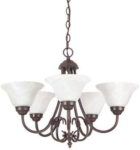 Sunset Lighting F6345-62 Madrid Five Light Chandelier, Faux Alabaster Glass Dimmable with Rubbed Bronze Finish