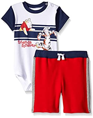 Baby-Boys 2 Piece Friends Forever Winnie The Pooh and Tigger Short Set