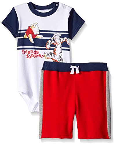 Disney Baby-Boys 2 Piece Friends Forever Winnie The Pooh and Tigger Short Set,White,3/6m (Baby Tigger)