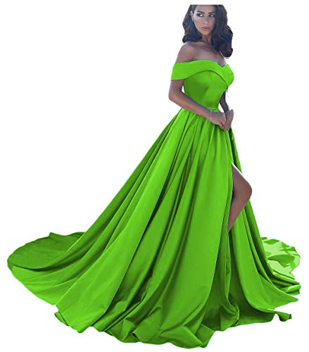 Dressesonline Women's Off The Shoulder A Line Split Prom Evening Dresses Long Formal Gown US8 Lime