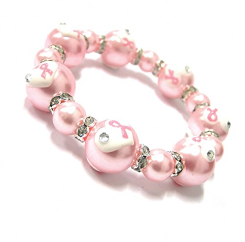 Pearl Breast Cancer Awareness Bracelet - Linpeng Internationa Fiona Luxi Pink Ribbon with Heart Bracelet