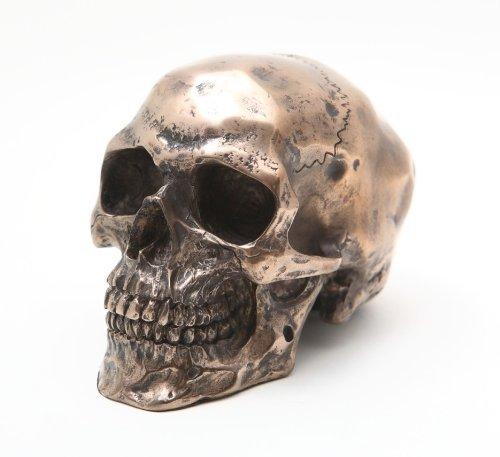 3.25 Inch Small Bronze Finish Skeleton Skull Statue Figurine