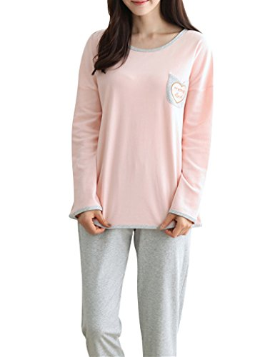 MyFav Big Girls Spring Winter Sleepwear Nighty Long Sleeve Heart Shape Pajama, Pink/Grey, Medium