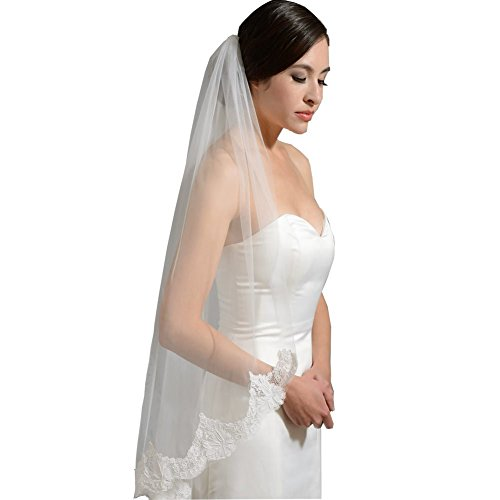 Veils Wedding Discount (GEORGE BRIDE One layer Lace Bridal Veil with Comb wedding headpieces (white))