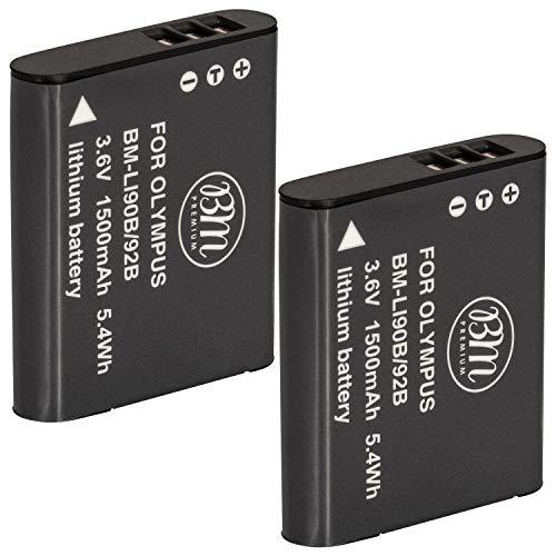BM Premium 2-Pack Of LI-92B, LI-90B Batteries for Olympus Tough TG-5, TG-Tracker, Tough SH-1, SH-2, SP100 IHS, Tough TG-1 iHS, Tough TG-2 iHS, Tough TG-3, Tough TG-4, SH-50 iHS, SH-60, XZ-2 iHS Camera