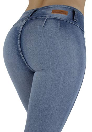 (Plus Size, Colombian Design, High Waist, Butt Lift, Skinny Jeans in M. Blue Size 22)