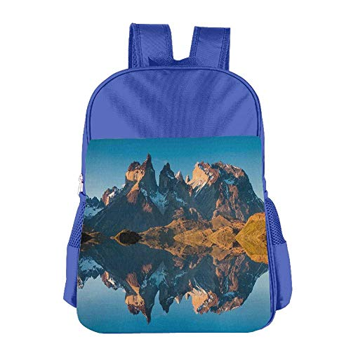 Haixia Teen's Boys&Girls School Backpack Nature Decor Majestic Rocky Mountains with Reflections On The Lake Creek Idyllic Landscape Full Blue Brown by Haixia