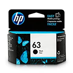 HP 63 Black Ink Cartridge (F6U62AN) for HP Deskjet 1112 2130 2132 3630 3632 3633 3634 3636 3637 HP ENVY 4512 4513 4520 4523 4524 HP Officejet 3830 3831 3833 4650 4652 4654 4655. HP 63 ink cartridges work with: HP Deskjet 1112, 2130, 2132, 363...