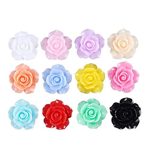 (50pcs 8mm Tiny Resin Roses Flower FlatBacks Cabochons Deco F1221x2 (Rose, 8mm))