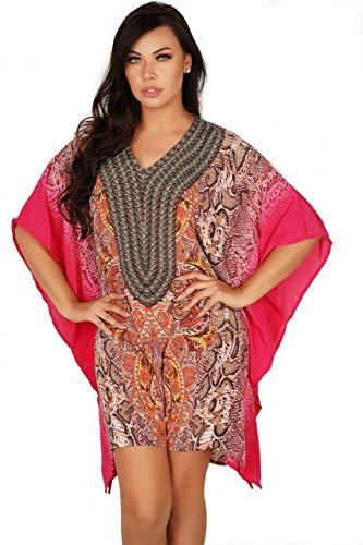 Lovely Lies Dashiki Kaftan Beach Dress For Women Flowy Resort Cruise Wear Short African Caftan Swimming Suit Cover Up ()