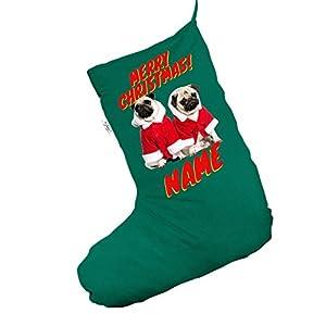 Personalised Santa Costume Pugs Large Green Christmas Stocking Gift Bag
