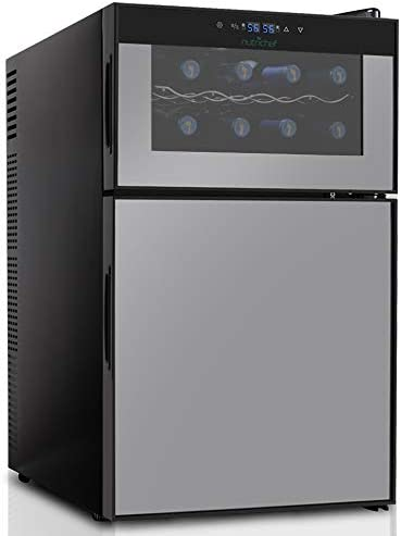 NutriChef PKTEWBC240 Wine Cooler and Mini Fridge Two Door 8 Bottle Chiller Cellar Top-16 Can Beverage Refrigerator, Digital Touch Screen