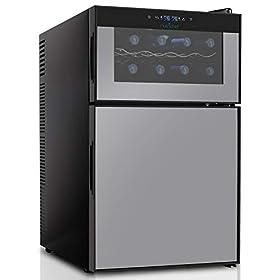 NutriChef PKTEWBC240 Wine Cooler and Mini Fridge – Two Door 8 Bottle Chiller Cellar Top-16 Can Beverage Refrigerator, Digital Touch Screen