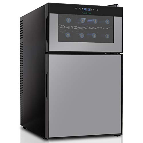 NutriChef PKTEWBC240 Wine Cooler and Mini Fridge - Two Door 8 Bottle Chiller Cellar Top-16 Can Beverage Refrigerator, Digital Touch Screen