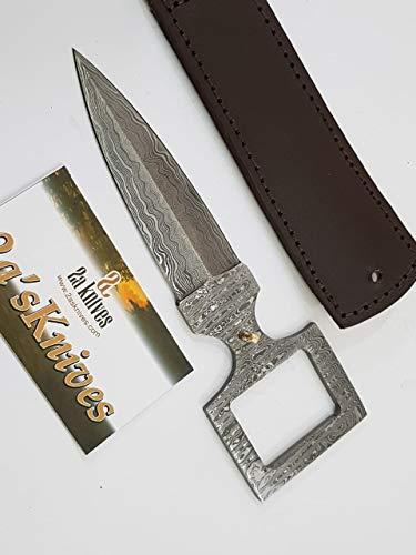2a's Knives Custom Handmade Damascus Steel Belt with Dagger (Brown).- Sword/Chef Kitchen Knife/Dagger/Full Tang/Skinner/Axe/Billet/Cleaver/Bar/Folding Knife/Kukri/Knife Accessories/Survival