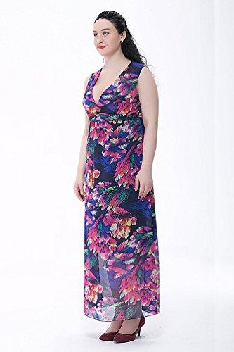 NiSeng Talla Grande Vestido Largo Boho Cintura Alta Estampado De Flores Vestidos De Playa Para Mujer Armada