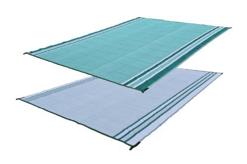 RV Patio Mat Motorhome Awning Mat Reversible Beach Mat Forest Green 9x18 (with Bag) by EZ Travel Mats