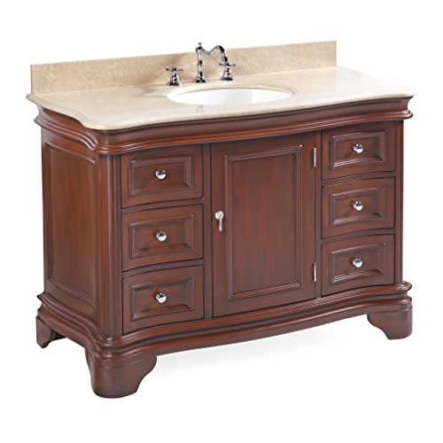 Crema Marfil Countertops - Katherine 48-inch Bathroom Vanity (Crema Marfil/Chocolate): Includes Chocolate Cabinet with Spanish Crema Marfil Beige Marble Countertop and White Ceramic Sink