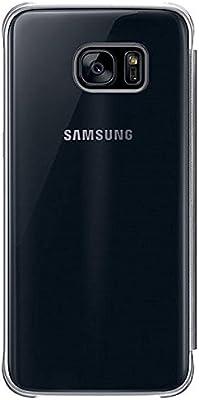 samsung galaxy s7 edge clear semi-opaque flip view custodia oro