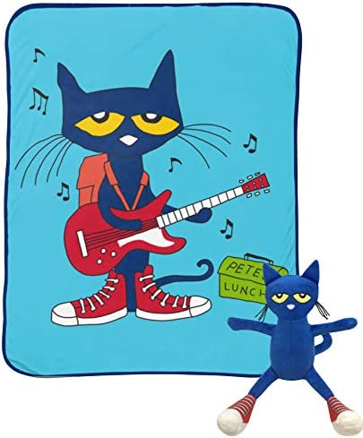 Pete The Cat Rock Out Mini Pillow Buddy and 46 Inch x 60 Inch Throw Set – Kids Super Soft 2 Piece Blanket Set (Official Pete The Cat Product)