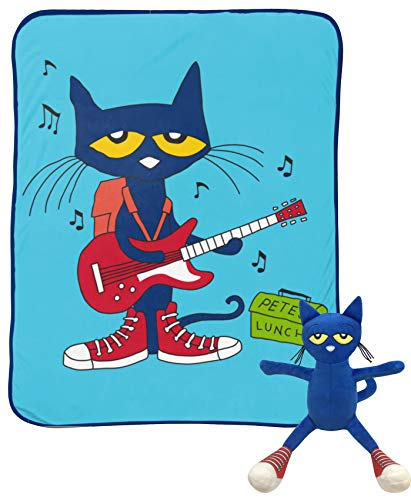 (Jay Franco Pete The Cat Rock Out Mini Pillow Buddy and 46 Inch x 60 Inch Throw Set - Kids Super Soft 2 Piece Blanket Set (Official Pete The Cat)