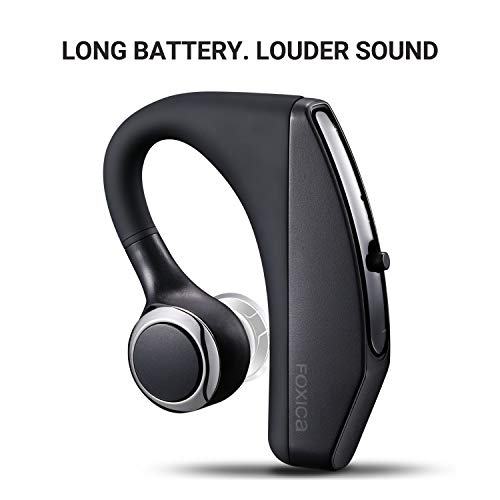2019 New Foxica Ultra Compact Long Battery Life Bluetooth Headset, Built-in Mic, Loud Sound, Light Weight, Fit Both Ears - iPhone/Ipad/Android - Life Cell Battery