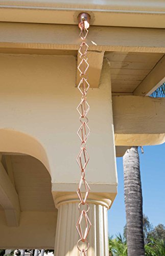Monarch Pure Copper Diamond Rain Chain, 8-1/2-Feet Length