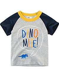 Lavany Baby Boys Shirts Dino Printed Short Sleeve Clothes Tee for Baby