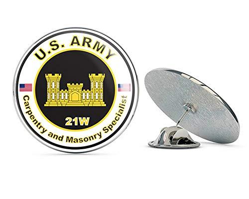 "Veteran Pins U.S. Army MOS 21W Carpentry and Masonry Specialist Metal 0.75"" Lapel Hat Pin Tie Tack Pinback"