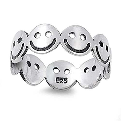 Solid Eternity Smiley Face .925 Sterling Silver Ring Sizes 7