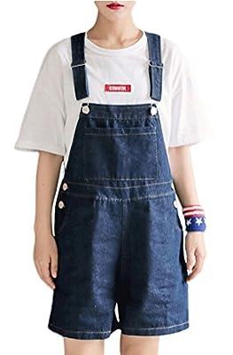 Soojun Women's Casual Straight Denim Bib overlls Shorts Plus Size Jeans