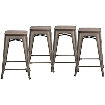 amazon com buschman set of four bronze wooden seat 24 inches