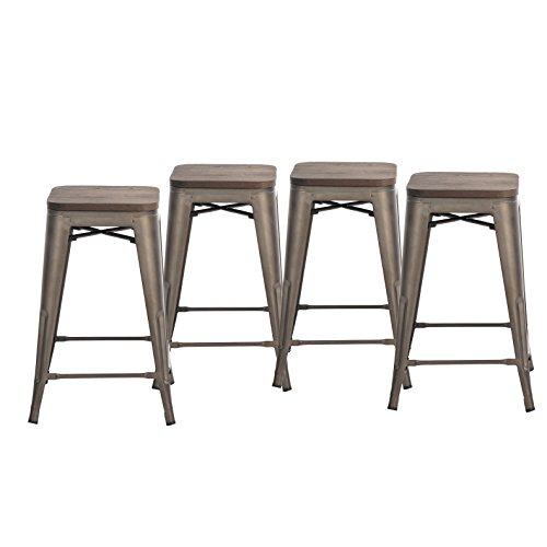 Outdoor Wood Finish Bar Stool - Buschman Set of Four Bronze Wooden Seat 24 Inches Counter Height Tolix-Style Metal Bar Stools, Indoor/Outdoor, Stackable