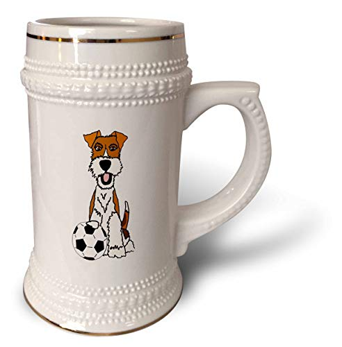 (3dRose All Smiles Art - Pets - Cool Funny Wire Fox Terrier Puppy Dog Playing Soccer Cartoon - 22oz Stein Mug (stn_307679_1))