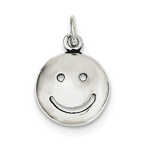 Mia Diamonds 925 Sterling Silver Solid Antiqued Smiley Face Charm (24mm x 15mm) ()