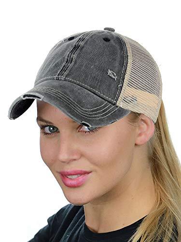 (C.C Ponycap Messy High Bun Ponytail Adjustable Mesh Trucker Baseball Cap Hat, Washed Black)