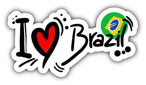 - novland I Love Brazil Travel Slogan Car Bumper Sticker Decal 5'' x 3''