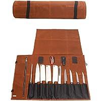 JURONG Koksmes Roll Bag, 16 oz Waxed Canvas Waterdichte Gereedschapstas, 15 Slots Blade Display Opbergtas Keukengerei…