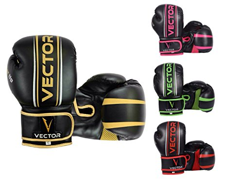 Vector Sports Maya Hide Leather Hand Crafted Pro Style Boxing Kickboxing Sparring Heavy Bag Training Gloves (Gold , 16 - Sport Man Vector