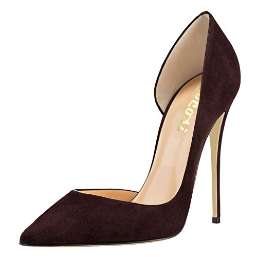 VOCOSI High Heels Women's Elegant Pumps Pointed Toe Side Air Dress Party Shoes S-Brown 11 US (High Heel Brown Suede Pumps)