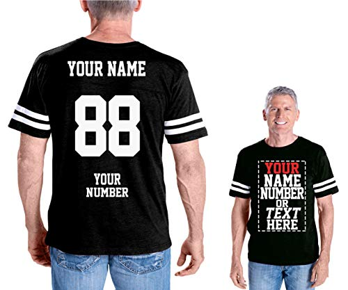 - Custom Cotton Jerseys - Make Your OWN Jersey T Shirts - Personalized Team Uniforms for Casual Outfit Black