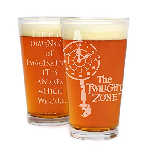 Movies On Glass - Premium Etched The Twilight Zone Engraved Logo Pint Glass 16 Ounces