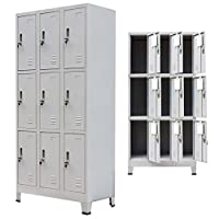 """Festnight Tall Office Steel Locker Cabinet with 9 Compartments Gray 35.4"""" x 17.7"""" x 70.9"""""""