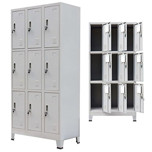 (Festnight Tall Office Steel Locker Cabinet with 9 Compartments Gray 35.4