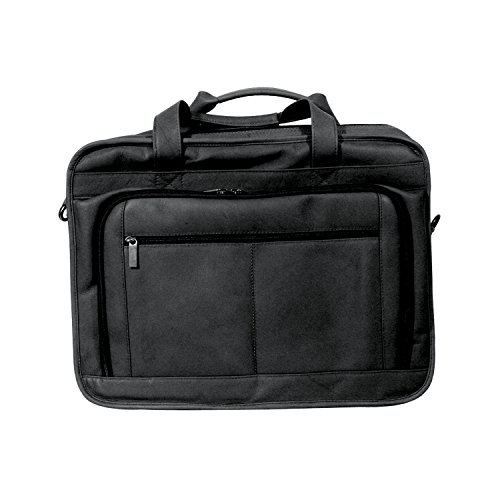 (Andrew Philips Vaqueta Napa Leather Oversized Laptop Briefcase in Black)