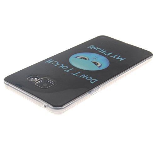 Etsue Caso para Samsung Galaxy A5(2016),Funda de silicona TPU Negro patrón de la caja ultrafina para Samsung Galaxy A5(2016),Suave diáfano de colores patrón para Samsung Galaxy A5(2016) + Gratis 1 x B Azul de la historieta