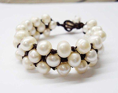 - White freshwater pearl bracelets,cuff bracelets,7-8 mm pearl,wedding bracelets,women bracelets