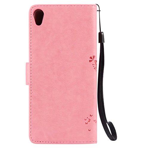 SRY-Funda simple Cubierta de la caja Sony XA, cubierta de la caja de cuero de la PU con estampado de gato y patrón de árbol funda de la cartera funda de silicona suave para Sony XA Conveniente y pract Pink