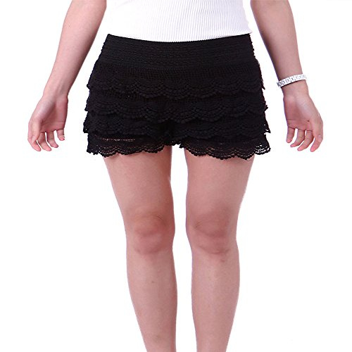 TD Women's Fitted Scallop Hem Crochet Lace Mini Shorts (3XL, Black)